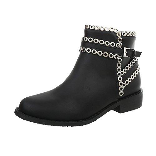 76c978f195 Scarpe Boots design Ital Da Stivali Blocco Schwarz 545 Chelsea Tacco ...