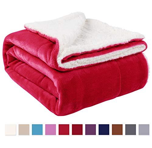 Red Reversible Fleece - Nanpiper Sherpa Blanket Twin Thick Warm Blanket for Winter Bed Super Soft Fuzzy Flannel Fleece/Wool Like Reversible Velvet Plush Blanket (Red Twin Size 60