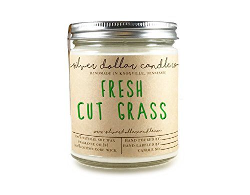 8oz Fresh Cut Grass Soy Candle Hand poured 100% Soy Scented Candle by Silver Dollar Candle - Fresh Grass Cut