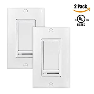 [2 Pack] BESTTEN 120V 60Hz On/Off Wall Dimmer Switch with External Adjuster Slide for Incandescent, CFL and LED Dimmable Lights, Wall Plate Included, UL Certified, White