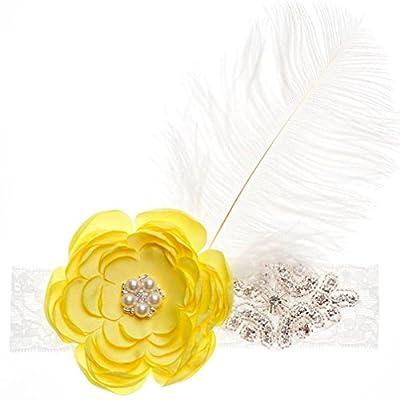 Inkach Baby Girls Headbands Hair Bands Flower Rhinestone Feather Pearl Shaped