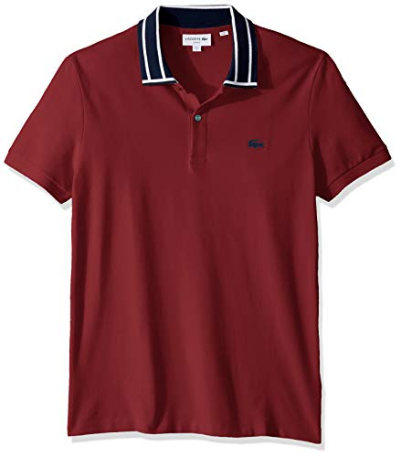 White Lacoste Mens S//S Stretch Pique Slim FIT Striped Collar Polo Shirt 4XL