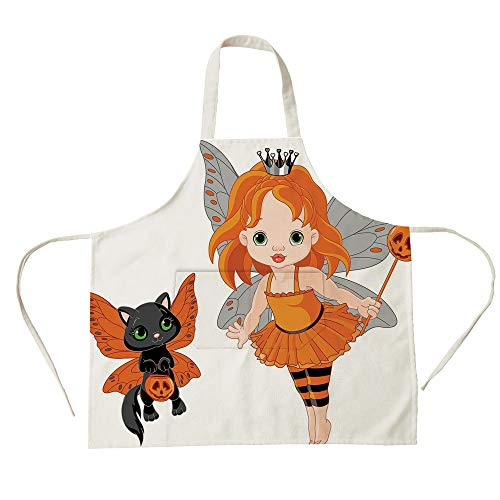 3D Printed Cotton Linen Big Pocket Apron,Halloween,Halloween Baby Fairy and Her Cat in Costumes Butterflies Girls Kids Room Decor Decorative,Multicolor,for Cooking Baking Gardening -