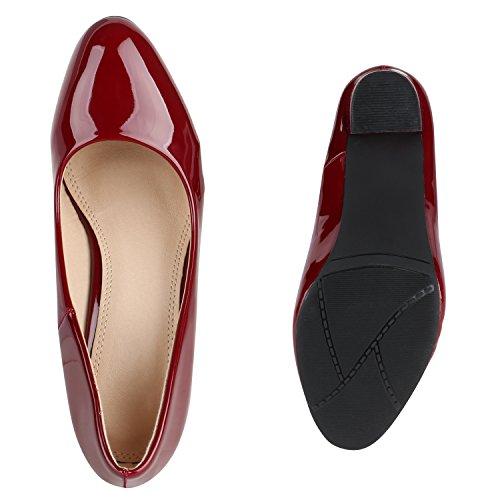 Stiefelparadies Klassische Damen Pumps Lack High Heels Elegante Party Schuhe Strass Blockabsatz Glitzer Damenschuhe Wildleder-Optik Flandell Dunkelrot Berkley