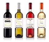 4 BACHELORETTE PARTY WINE LABELS, LABELS FOR ENGAGEMENT, PARTY GIFT, BRIDAL SHOWER, 5 Inch X 4 Inch. WATER RESISTANT