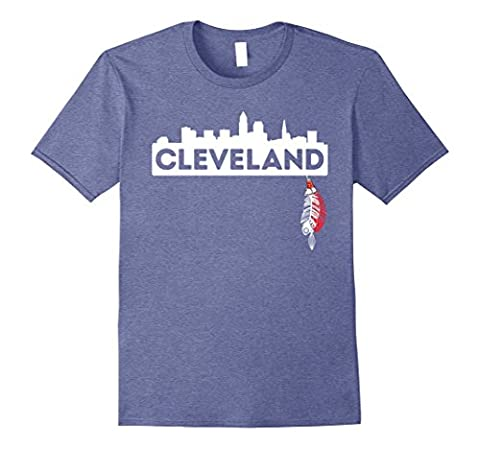 Mens Cleveland Skyline and Native American Feather T-shirt Medium Heather Blue - Native American Indian Feathers