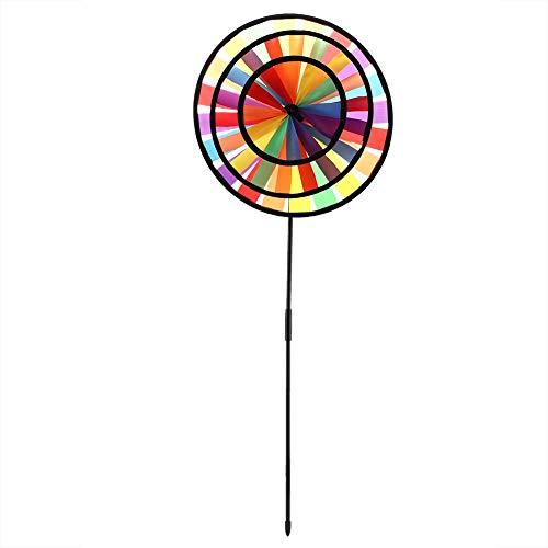 (Naroote Triple Wheel Windmill, Multicolor Rainbow Pinwheel Whirligig Kids Toy Garden Party Outdoor Decor )