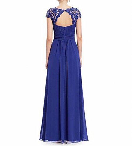 Blau Schönheit Königsblau Damen Abendkleid Rücken der Brustumfang offener Gerüscht Leader 678xvwq5W