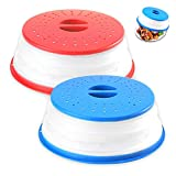 2-Pack Multicolor Foldable Microwave Oven Plate Cover for Food - Collapsible Splatter Proof Guard, Non-Toxic, BPA-Free Silicone & Plastic and Dishwasher Safe (Blue And Red)