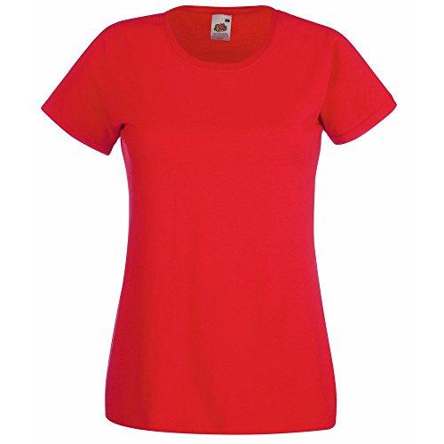 Fruit of the Loom SS050–Camiseta para mujer Valueweight Rojo