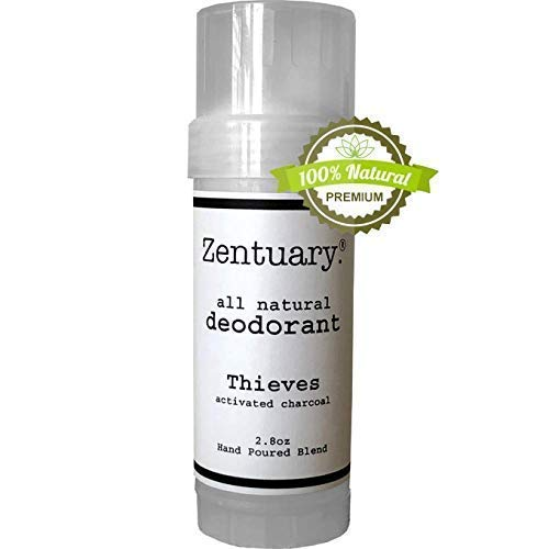 Zentuary Aluminum-Free Natural Deodorant (Thieves w/Activated Charcoal) Works All Day! Handmade, Non-Toxic, Paraben Free, Gluten Free & Cruelty Free for Men and Women Underarm Deodorant, 2.8 Oz Stick