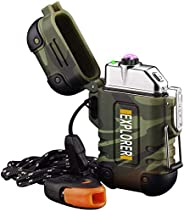 lcfun Arc Lighter Outdoor Waterproof Windproof Plasma Lighter Rechargeable USB Electronic Lighters with Emerge