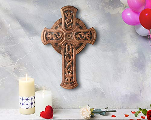 storeindya, Decorations Wooden Celtic Cross Long Wall Hanging French Cross Hand Carved Antique Design Religious Altar Home Living Room Decor Accessory (Design 4)