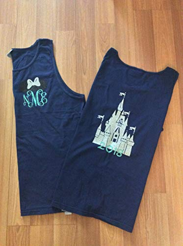 Handmade Disney Shirt/Minnie Mouse with monogram/castle with 2019 on back/personalized]()