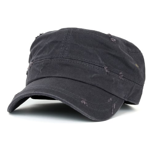 ililily Distressed Cotton Cadet Cap with Adjustable Strap Army Style Hut (cadet_527_2)