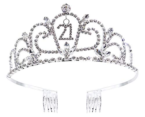 Bienvenu Crystal Birthday Tiara Rhinestone Princess Crown Happy Birthday Crowns Silver Diamante Happy 21st
