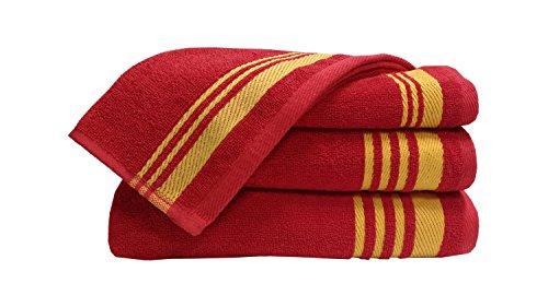 Welhome Home Essential 400 GSM Cotton 2 Bath Towel & 2 Hand Towel Set – Red
