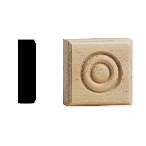 (DecraMold DM R2751 7/8 in. x 2-3/4 in. x 2-3/4 in. Solid Pine Button Style Rosette Corner Block)