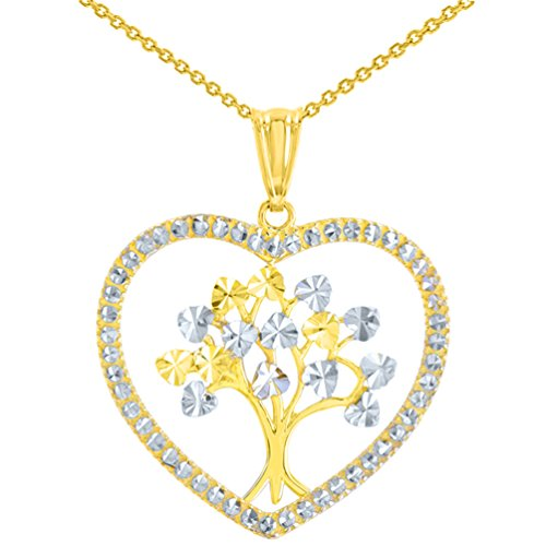Polished 14K Yellow Gold Textured Heart Shaped Tree of Life Pendant Necklace, 20