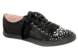 Your Party Shoes Womens Lexi Metallic Rhinestone Fashion Sneaker, Black, 5 M US