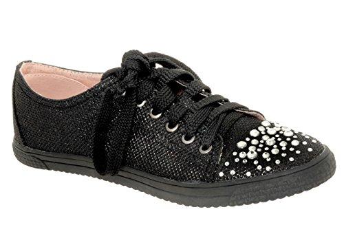 Your Party Shoes Womens Lexi Metallic Rhinestone Fashion Sneaker, Black, 11 M US