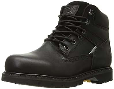 KINGSHOW Men's 1406-2 Premium Black Full-Grain Leather Plain Rubber Sole Soft Toe Work Boots 6 M US