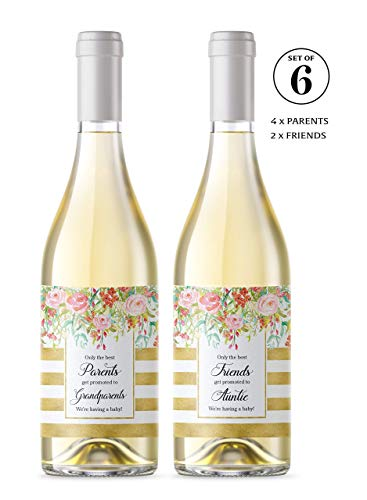 ● SET of 6 ● FAMILY & FRIENDS Pregnancy Announcement Wine Labels: 4 Only the Best PARENTS Get Promoted to GRANDPARENTS Wine Labels + 2 Best FRIENDS Get Promoted to AUNTIE Labels WATERPROOF, 450G-4P2F1 (The Best Parents Get Promoted To Grandparents Wine Label)