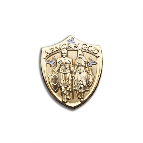 Whole Armor of God Shield Collectible Lapel Pin (Gold) or Tie Tac