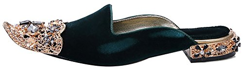 Slippers Heel Green Women B On Catxis 2CM Shoes Western Pointed Toe Calaier Slip BaHzwqq
