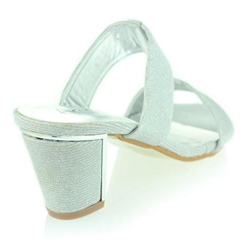 Frau Damen Funkeln Abend Beiläufig Party Abschlussball Schlüpfen Block Ferse Sandalen Schuhe Größe Silber