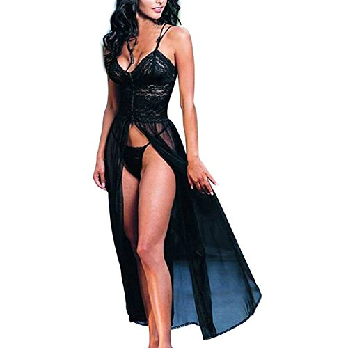 Lisli Women Sexy Black Lace Babydoll Lingerie Perspective Nightdress with G-string
