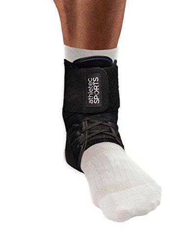 Athletec Sport Ankle Support Brace with Adjustable Laces, Stabilizer Support for Athletic Injuries, Joint Pain, Sprained Ankle, and Recovery – Size Large/X-Large in Black (One Piece)