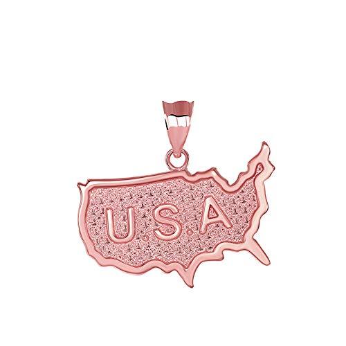 (Solid 14k Rose Gold USA Map United States Outline Pendant )