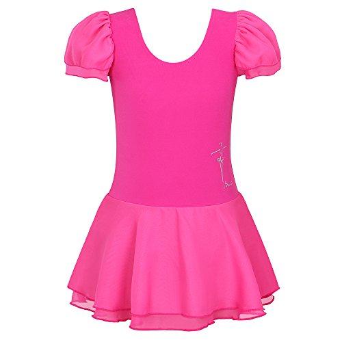 (BAOHULU Toddlers Ruffle Short Sleeve Tutu Ballet Leotards for Girls 3-14 Years B111_HotPink-4A)