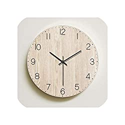 Wenzi-day Wall Clock Living Room Decoration Nordic Wooden Wall Clocks Quartz Watch Home Decor Silent,Type C Without Frame,14 inch