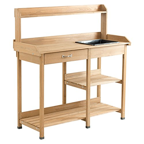 h Table Wood Potting Bench for Garden Plant Lawn Patio Indoor Outdoor Workstation Flower Pot Bench w/Sink Drawer Hooks Open Shelves ()