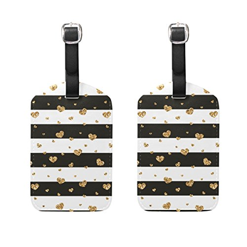 Set of 2 Luggage Tags Stripe Gold Heart Suitcase Labels Travel Accessories