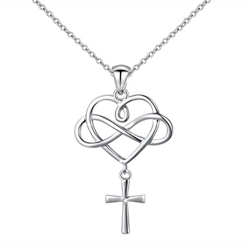 Cross Necklace 925 Sterling Silver Infinity Loving Heart Criss Cross Pendant Necklace for Women, 18 ()
