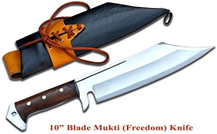Handmade 10 long blade Mukti meaning redemption Kukri knife – made of carbon steel, rosewood full tang handle black leather sheath Khukuri- 16 ovarall length in Nepal by Gurkha Kukri House