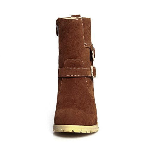 Zipper Heels Chunky Frosted Womens 1TO9 Brown Buckle Boots awfCFxRqg