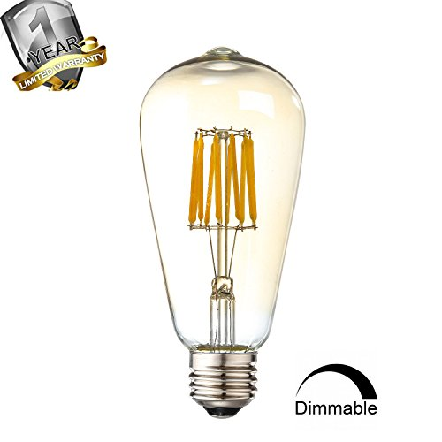 Leools 10W Edison Style Vintage LED Filament Light Bulb,ST64(ST21)Led Retro bulb,100 Watt Equivalent Light Bulbs,Warm White 2700K,1200LM,Dimmable, E26 Medium Base Lamp, Antique Shape, (1 - Oak Mall White