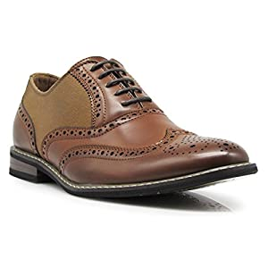 Wood10 Men's Colonial Spectator Two Tone Grand Wingtips Oxfords Perforated Lace Up Dress Shoes