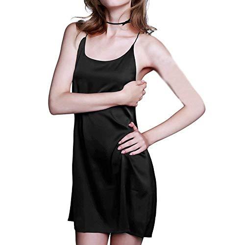 Chemise Mujeres V Cuello En Pijama Sin Suave Robes Lady Verano Ladys Respaldo Camisón Negro Mangas Con De Dormir Vestido Clásico Ropa qxgaH0