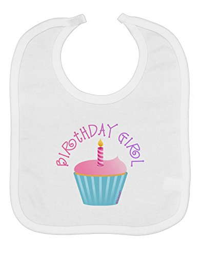 TooLoud Birthday Girl - Candle Cupcake Baby Bib - White