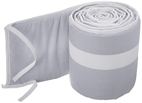 Babykidsbargains Stripe Round Crib Bumper, Grey/White ()