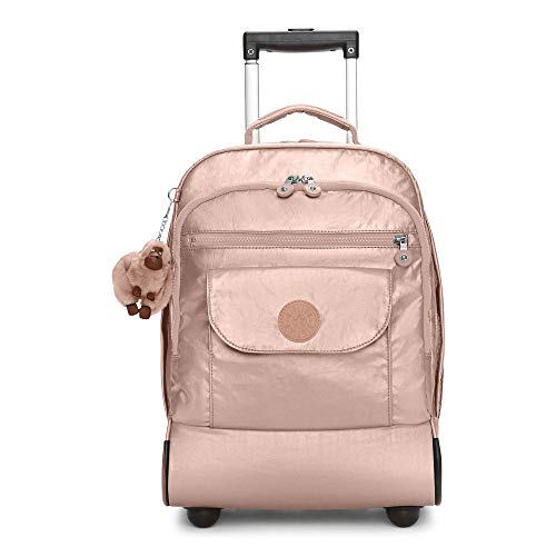 Kipling Sanaa Large Metallic Rolling Backpack Rose Gold Metallic