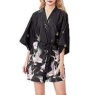 RAINED-Women's Satin Robe Long Kimono Bathrobe Floral Short Sleeve V-Neck Nightgown Robe for Wedding Party