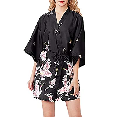 RAINED-Women's Satin Robe Long Kimono Bathrobe Floral Short Sleeve V-Neck Nightgown Robe for Wedding Party