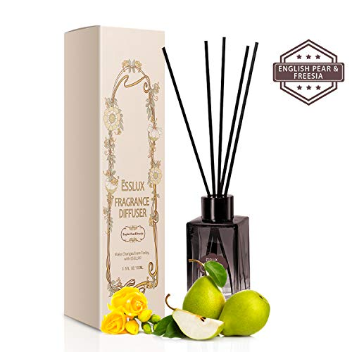 (ESSLUX Reed Diffuser, Home Fragrance Premium Quality for Home and Office, Air Freshener & Home Decor & Ideal Gift-English Pear&Freesia)