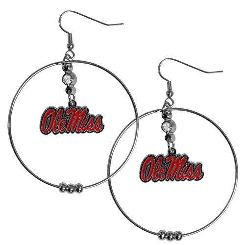 Siskiyou NCAA Mississippi Old Miss Rebels 2 inch Hoop Earrings